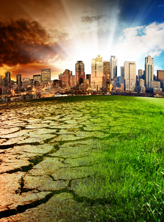 City affected by climate change