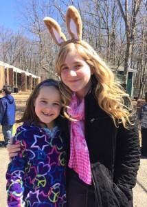 girl with Easter bunny ears