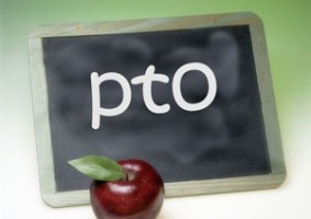 PTO sign with apple