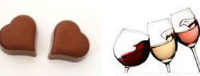 glasses of wine and chocolates