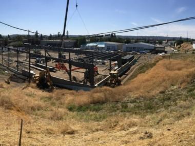 Steel girders begin to go up