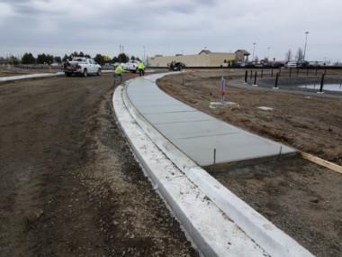 Sidewalks being poured