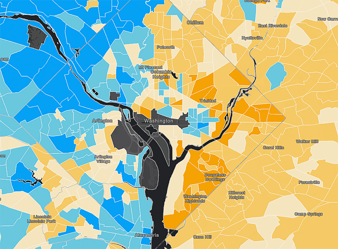 Data Maps Show The Stark Incomeinequality Divide In Cities - Washington dc gis map