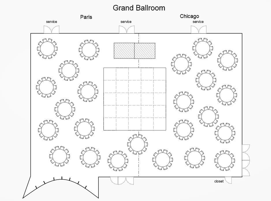 Sofitel chicago magnificent mile wedding ballroom layout for Wedding floor plan
