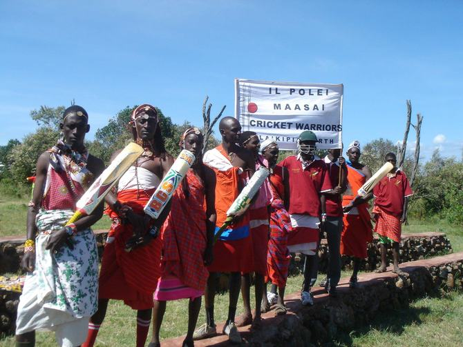 The Maasai Cricket Warriors at the Laikipia Highlands Sports For Peace Games