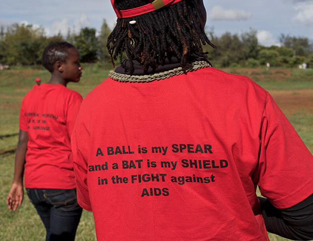 "The Maasai Cricket Warriors' unique AIDS Awareness slogan: ""A BALL is my SPEAR and a BAT is my SHIELD in the FIGHT against A I D S"""
