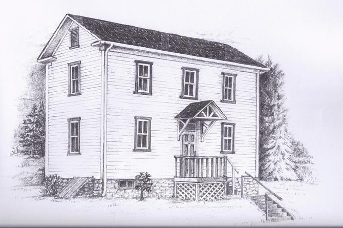 Pencil drawing of the original Vickroy House on Ferndale Avenue by Kathy Hayduk, 2012.