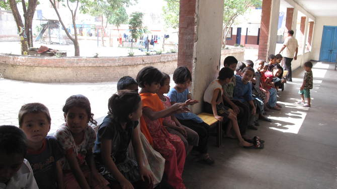 Kids waiting for their exam at Siphal Child Protection Home