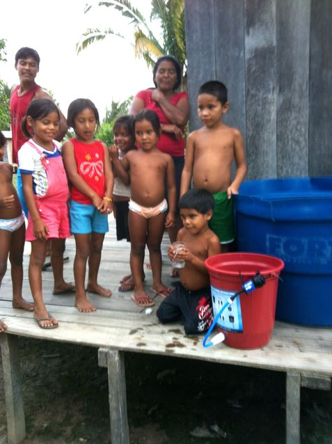 Family receiving their water filter