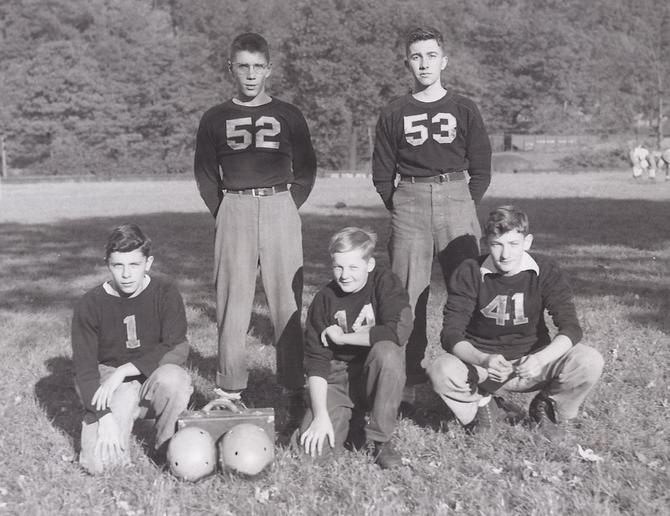 Ferndale football team managers, 1945. John Wright, Bob Pebley, Bob Buck, Dalton Blough, Bob Schuster.