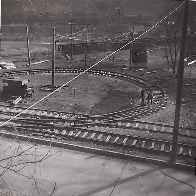 Construction of the end of the Ferndale streetcar line. Note the B&O Railroad bridge in the background
