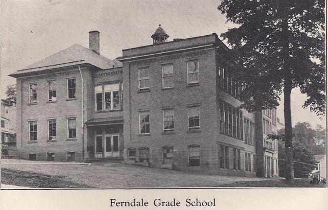 Ferndale Grade School, 1929. The school was destroyed by fire on December 9, 1936. The current high school stands at that location on the corner of Clay Street and Harlan Avenue.