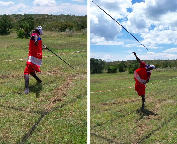 Sonyanga competing in the javelin event & showing how it's done