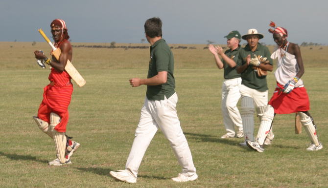 The end of our innings - look out for the buffalos on the boundary edge. . .