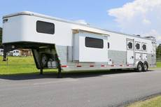 """16' 6"""" DOUBLE SLIDE 3 Horse Living Quarter Pro Series Trailer"""