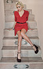 Christina Curry red dress stairs