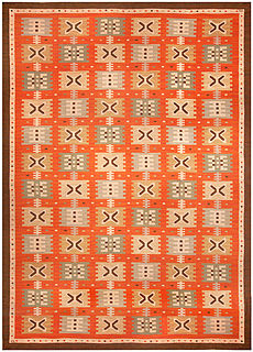 A Swedish Flat Woven rug (Sverige R�lakan) by Polly Bj�rkman