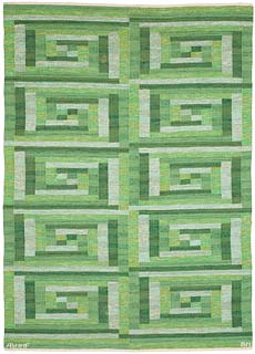 "A Swedish Flat Weave Rug ""Ostia Green"" by Marta Maas-Fjetterstrom for Barbro Nilsson BB5390"