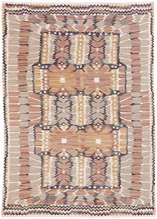 "A Swedish Tapestry Weave Rug ""Carnation Gray"" by Marta Maas-Fjetterstrom for Barbro Nilsson BB5381"