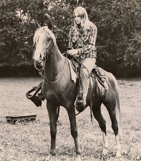 1968 Stallion RANDGOR #50022 (Andgor Rehermo x Ranayla) with daughter Terry, was a breeding stallion for many years on the farm, along with being Terry's personal show and pleasure riding horse.