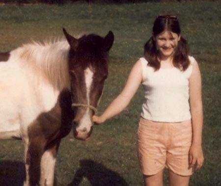 "Daughter Buttons, pictured with 1965 Half-Arabian filly CHARCOAL, sired by there first purebred stallion KERDOL #12034 ( Idol x Kerith ) a 1957 offspring purchased at that time by Clyde as a gift for Gloria ""Chip""."