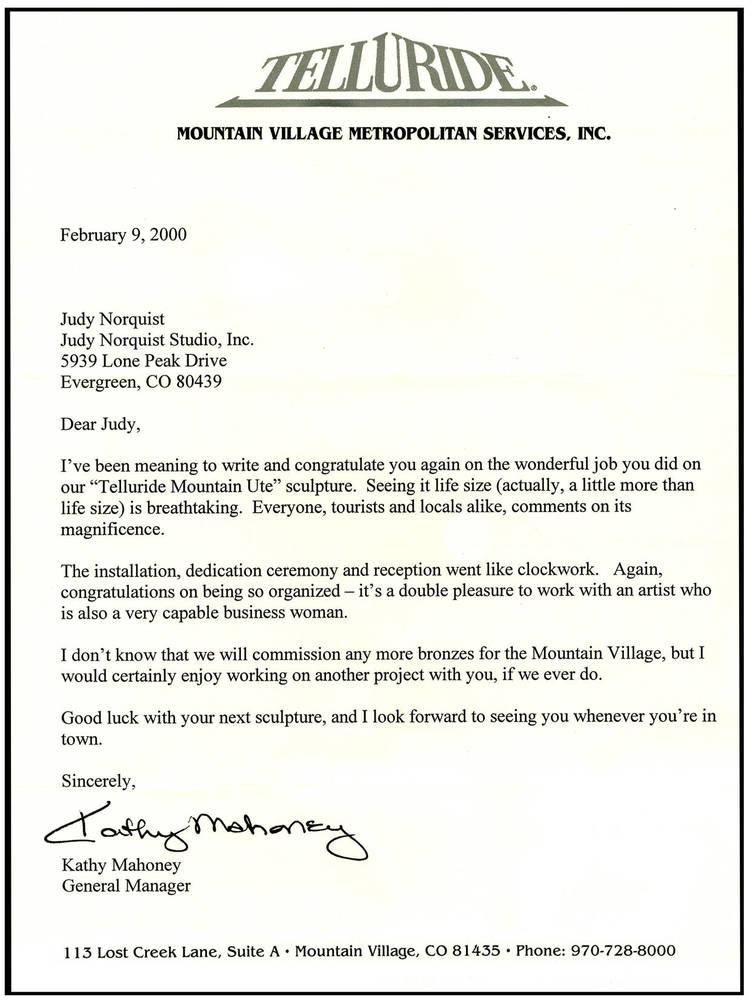 Wonderful letter from Kathy Mahoney, Mountain Village, General Manger.