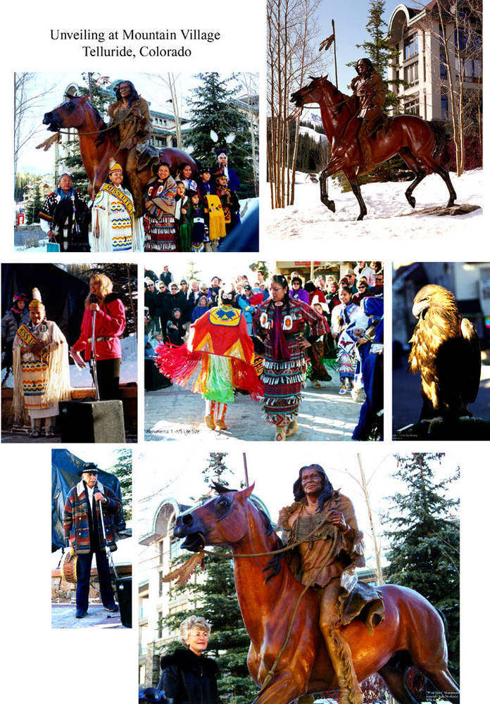Wind Spirit 1 -1/5 Life-size Monumental  #1-5 was unveiled. --  December, 1999  in the town of Mountain Village, Telluride, Colorado