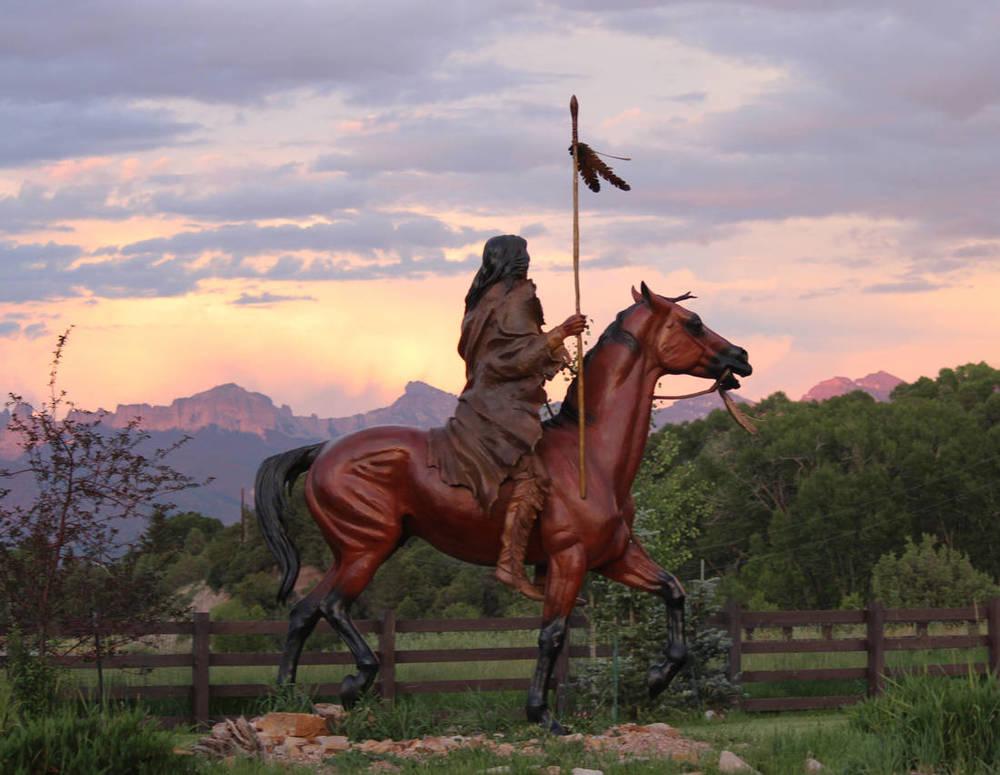 Wind Spirit at sunset. --   Nordquist Studio ranch in Ridgway, Colorado.