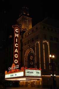 The Chicago Theatre Marquee: Arcade Fire