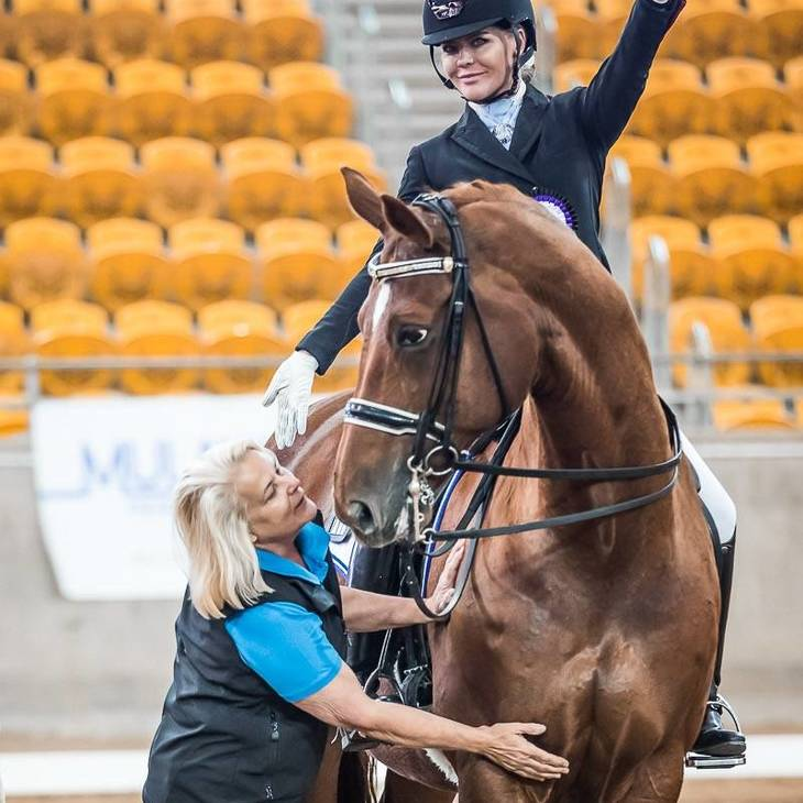 LUXOR 118 (DE) - with Julie Farrell & Kate Farrell.  Photographed by Stephen Mowbray. © Stephen Mowbray, 2019.   2019 NSW Dressage Championships