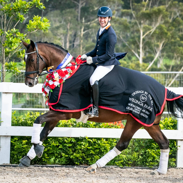 ABER FONTAINE MI with John Thompson | Willinga Park Dressage by the Sea 2020.  Photograph © Simon Scully.