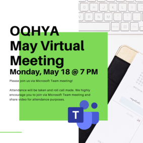 OQHYA May Virtual Meeting - Monday, May 18 @ 7 PM