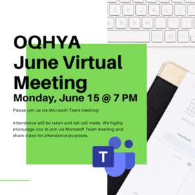 OQHYA June Virtual Meeting - Monday, June 15 @ 7 PM