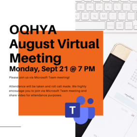 OQHYA September Virtual Meeting - Monday, September 21 @ 7 PM