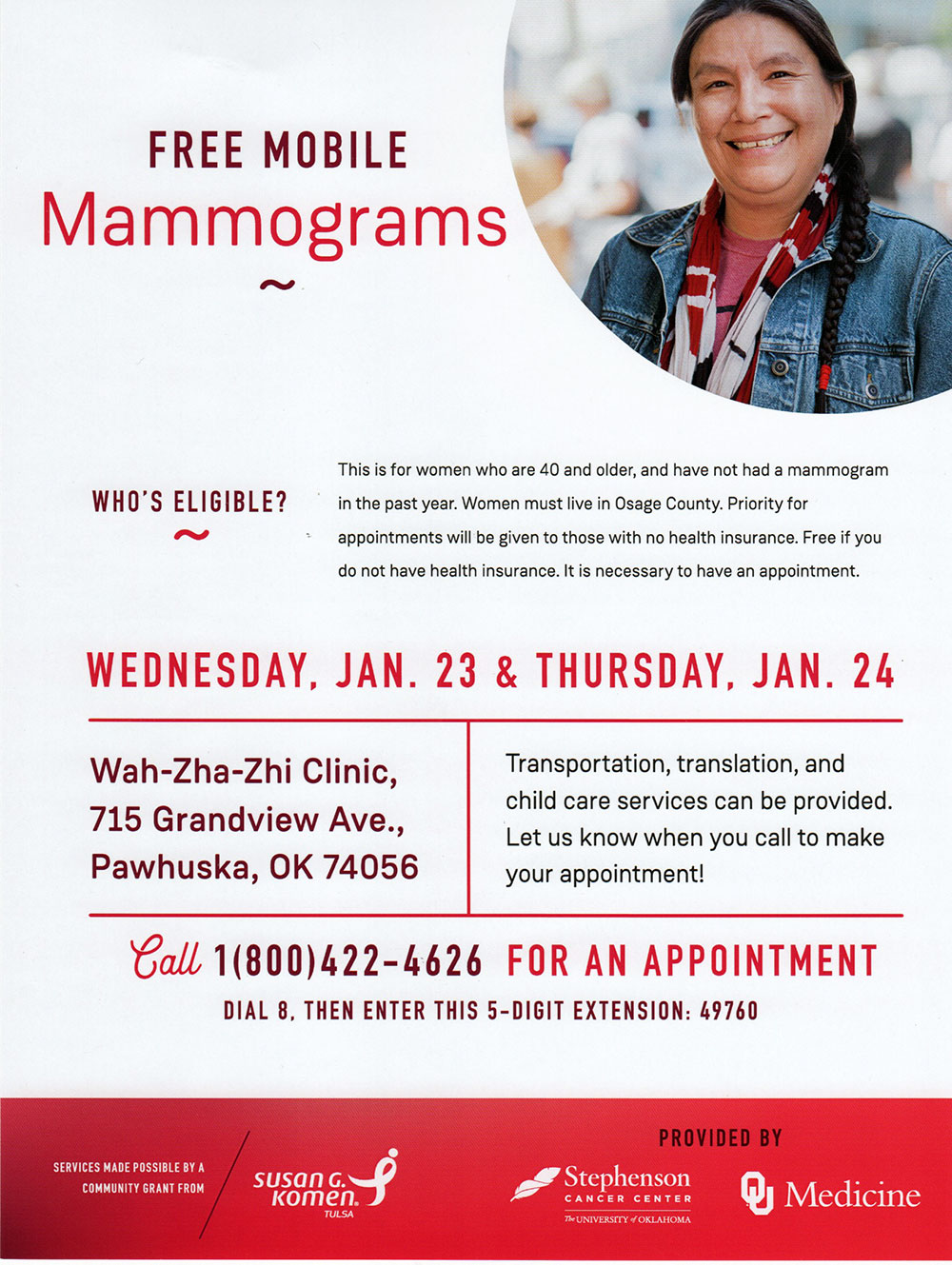 Mobile mammogram clinic scheduled Jan. 23-24 at Wah-Zha-Zhi Health Center