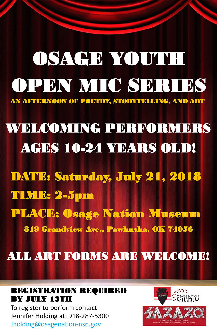 ON Museum hosting Osage Youth Open Mic Series