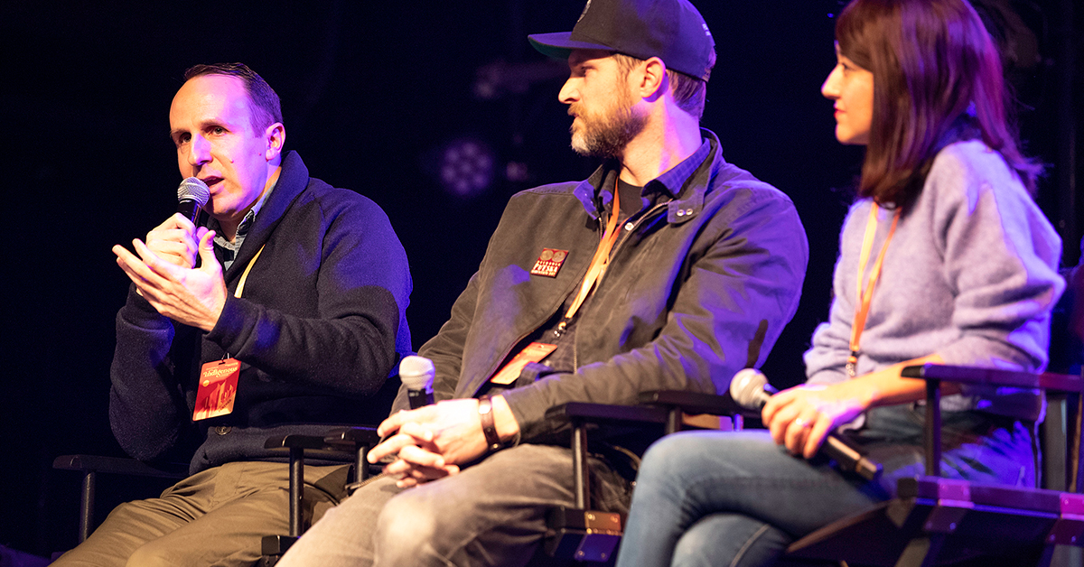 Osage speaks at Indigenous Filmmakers Lounge at Sundance Film Festival