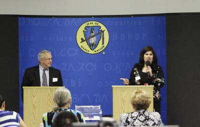 Proctor and Red Corn debate at 2014 Osage News General Election debates