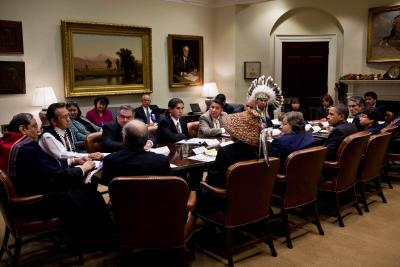 Presidential meeting photo featuring Chief Red Eagle on new Web site