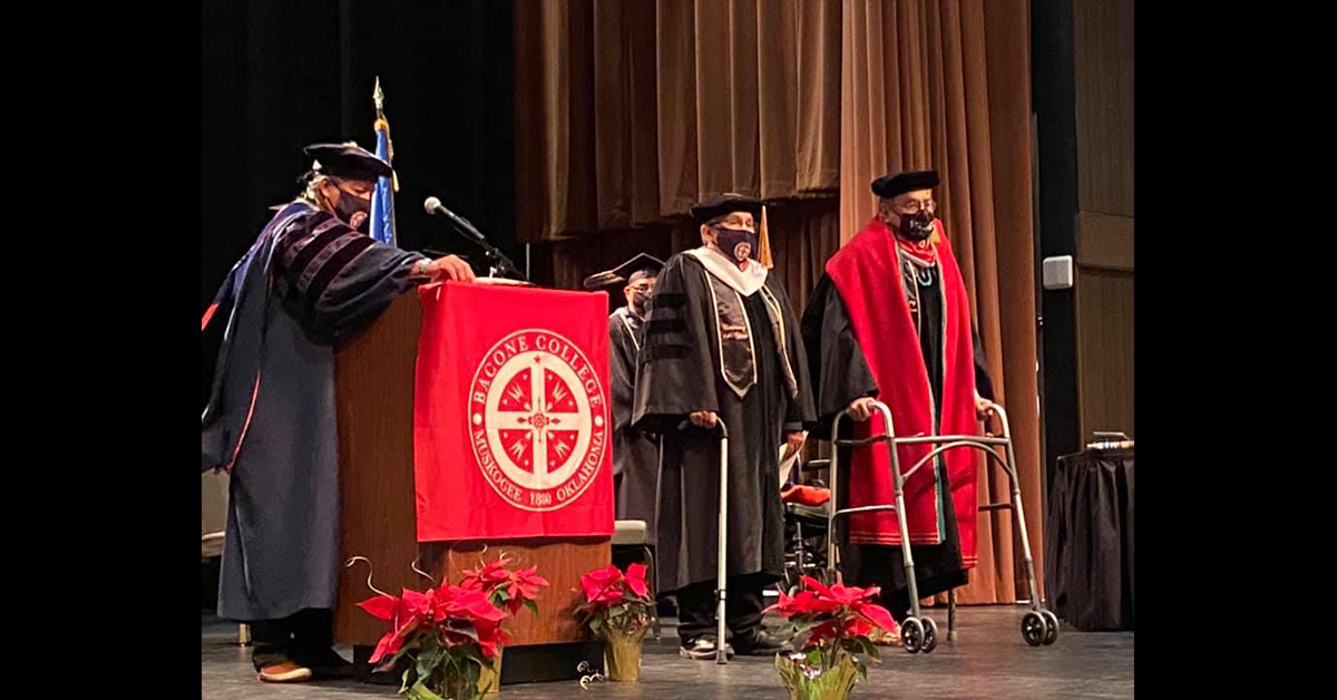 Mark Simms receives honorary doctorate from Bacone College