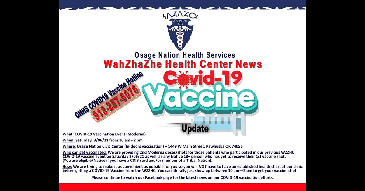 WZZHC COVID-19 vaccine event scheduled March 6 in Pawhuska