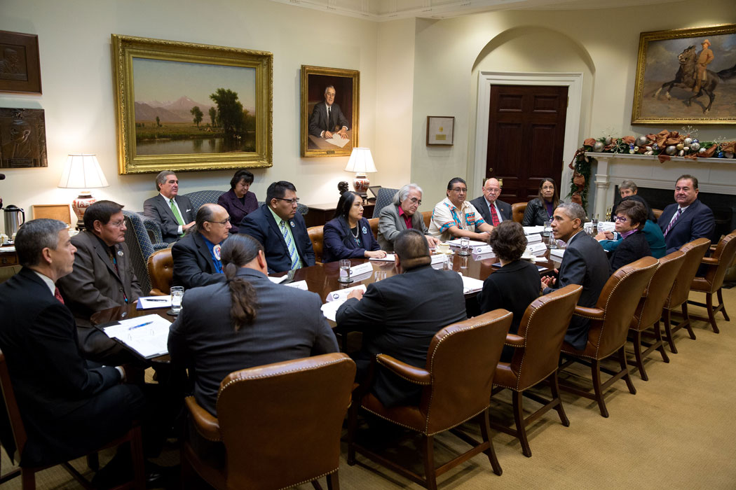 Chief Geoffrey Standing Bear meets with President Barack Obama