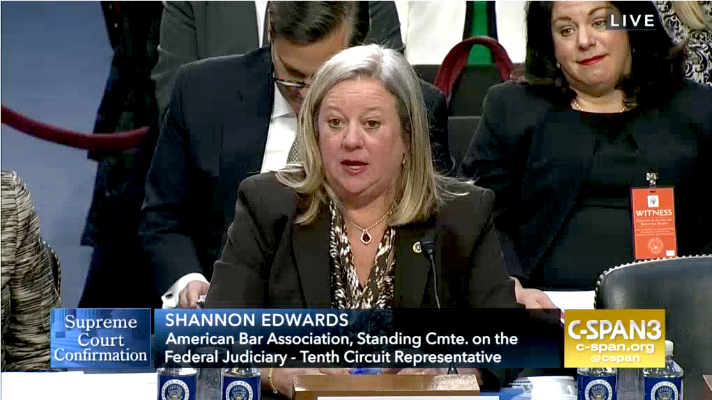 Osage Nation Congresswoman testifies at Gorsuch Committee Hearing before Senate committee; Gorsuch has ruled in favor of Osage shareholders in past