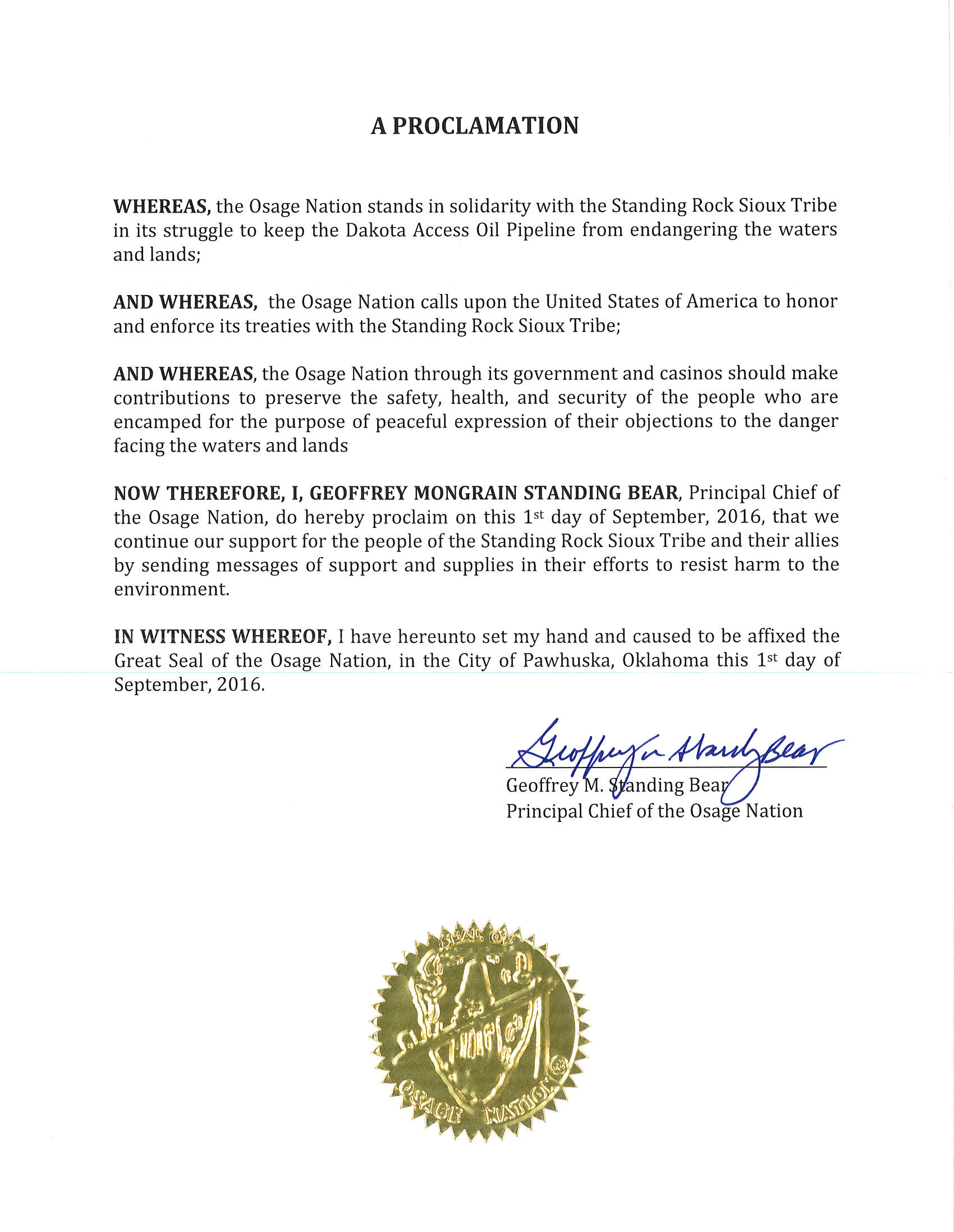 ON Principal Chief Geoffrey Standing Bear issues proclamation in support of the Standing Rock Sioux Tribe