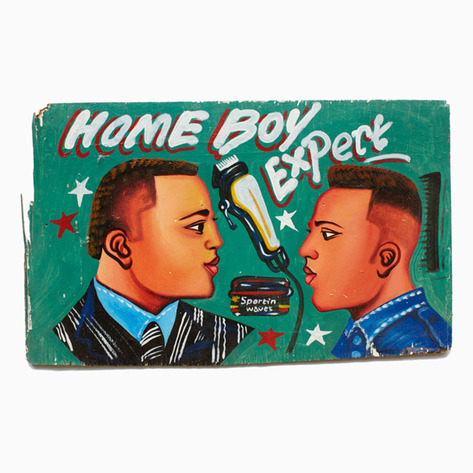 """Home Boy"" Hand-Painted Barbershop Sign"