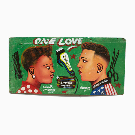 green one love hand painted barbershop sign. Black Bedroom Furniture Sets. Home Design Ideas