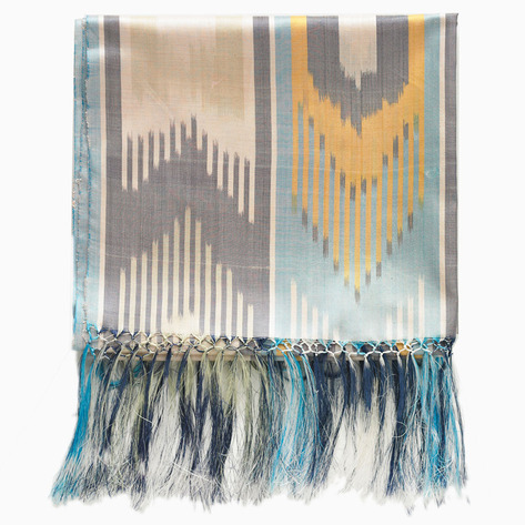 Feather Silk Ikat Scarf