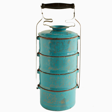 Turquoise Enamel Tiffin Carrier