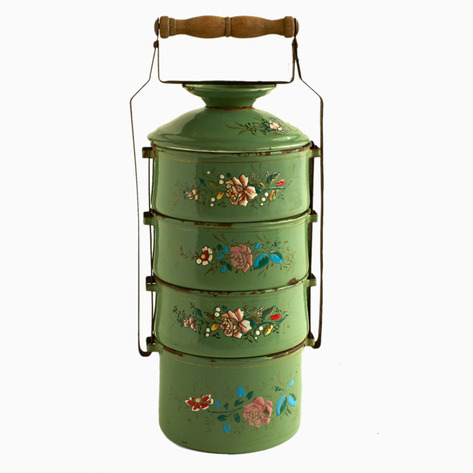Green Embossed Enamel Tiffin Carrier