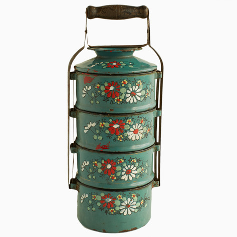Teal Embossed Enamel Tiffin Carrier